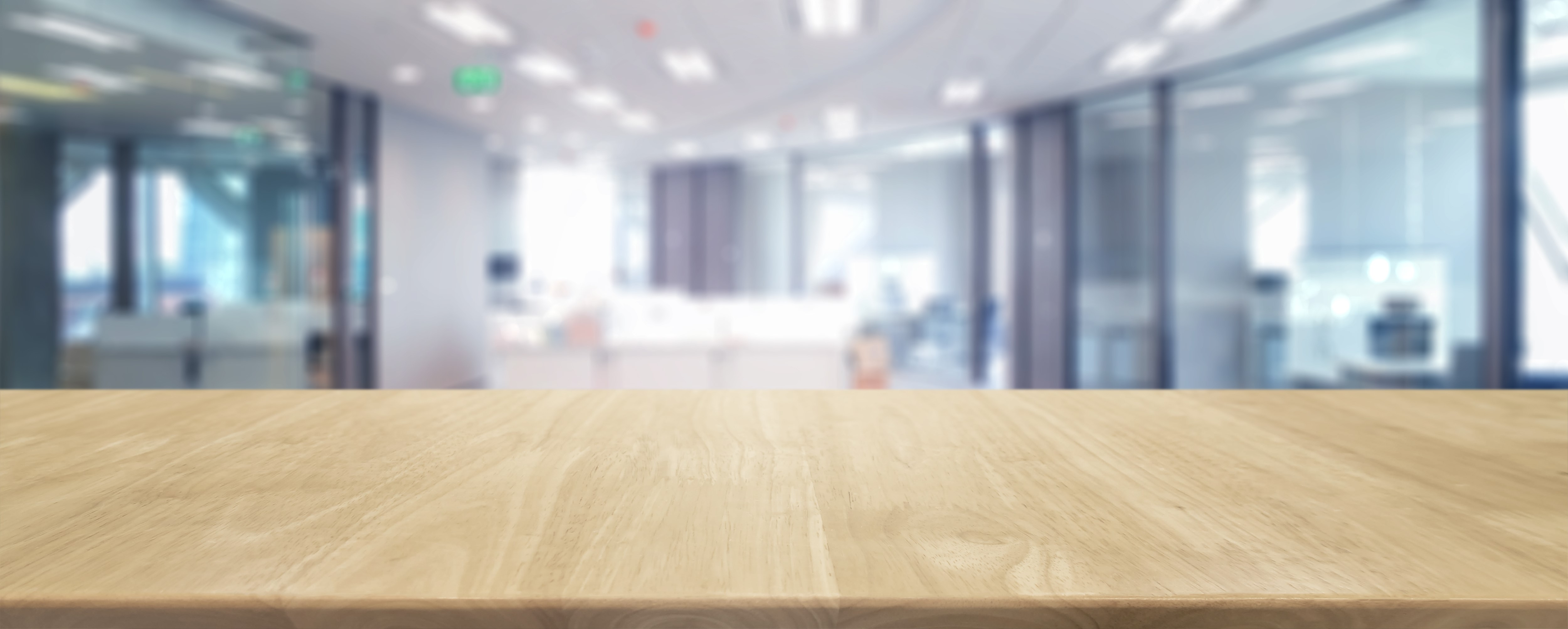 Wood Table Top And Blurred Bokeh Office Interior Space Background U2013 Can  Used For Display Or Montage Your Products.